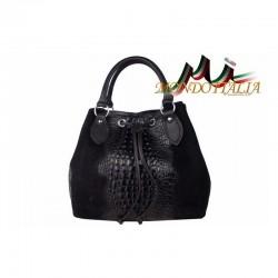 Talianska kožená kabelka 394 čierna MADE IN ITALY 394