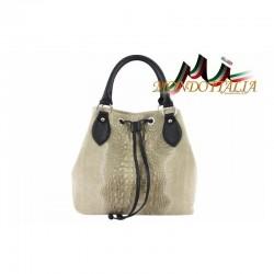 Talianska kožená kabelka 394 šedohnedá MADE IN ITALY 394
