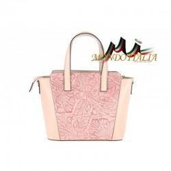 Talianska kožená kabelka 395 ružová MADE IN ITALY