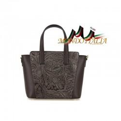 Talianska kožená kabelka 395 tmavohnedá MADE IN ITALY