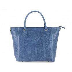 Talianska kožená kabelka 405 jeans, Modrá