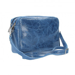 Talianska kožená kabelka 43 jeans, Modrá
