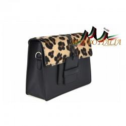 TALIANSKA KOŽENÁ KABELKA 497 čierna+leopard, Farba čierna