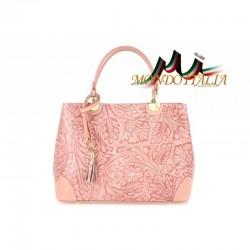Talianska kožená kabelka 502 ružová MADE IN ITALY