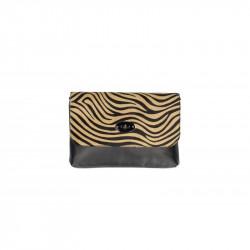 Talianska kožená kabelka 5078 zebra tmavá, šedohnedá