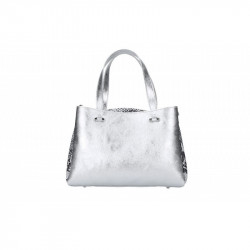Talianska kožená kabelka 5081 strieborná MADE IN ITALY, strieborná