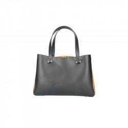 Talianska kožená kabelka 5081čierna MADE IN ITALY, čierna