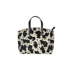 Talianska kožená kabelka 5088 biela + čierna MADE IN