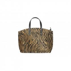 Talianska kožená kabelka 5088 zebra tmavá MADE IN ITALY, hnedá