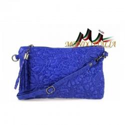 Talianska kožená kabelka 51 azurovo modrá MADE IN ITALY 51