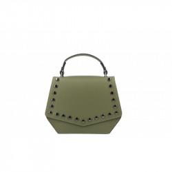 Talianska kožená kabelka 5101 vojenska zelená MADE IN