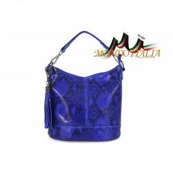 Talianska kožená kabelka 659 azúrovo modrá MADE IN ITALY