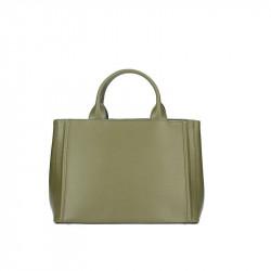 Talianska kožená kabelka 667A vojenska zelená MADE IN