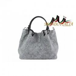 Talianska kožená kabelka 88H šedá MADE IN ITALY