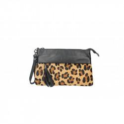 Talianska kožená kabelka 9014 leopard MADE IN ITALY, hnedá