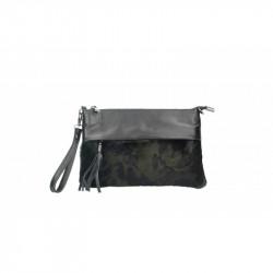 Talianska kožená kabelka 9014 vojenská zelená MADE IN