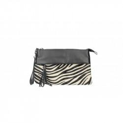 Talianska kožená kabelka 9014 zebra MADE IN ITALY, čierna