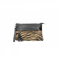 Talianska kožená kabelka 9014 zebra tmavá MADE IN ITALY, hnedá