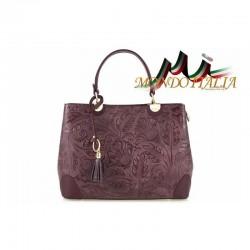 Talianska kožená kabelka 9661 bordová MADE IN ITALY 9661