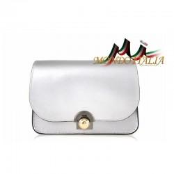 Talianska kožená kabelka 9666 strieborná MADE IN ITALY 9666