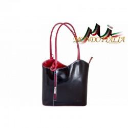 TALIANSKA KOŽENÁ KABELKA/BATOH 113 čierna + červená MADE IN ITALY 113