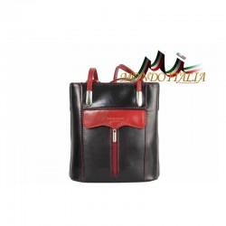 TALIANSKA KOŽENÁ KABELKA/BATOH 438 čierna+červená MADE IN ITALY 438