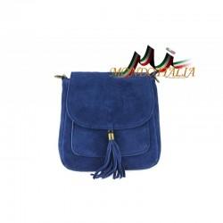 Talianska kožená kabelka cez rameno 1147 jeans MADE IN ITALY