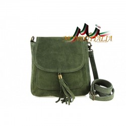 Talianska kožená kabelka cez rameno 1147 vojenská zalená, Farba zelená