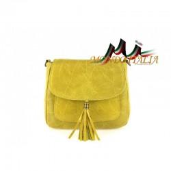 Talianska kožená kabelka cez rameno 700 žltá MADE IN ITALY