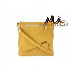 Talianska kožená kabelka cez rameno 9663 horčicová MADE