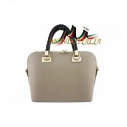 Talianska kožená kabelka do ruky 34 šedohnedá MADE IN ITALY 34