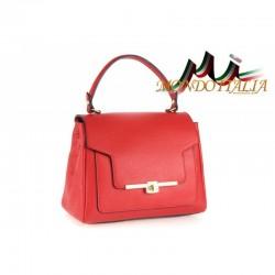 Talianska kožená kabelka do ruky 657 červená MADE IN ITALY