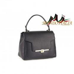 Talianska kožená kabelka do ruky 657 čierna MADE IN ITALY