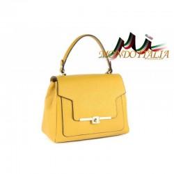 Talianska kožená kabelka do ruky 657 žltá MADE IN ITALY