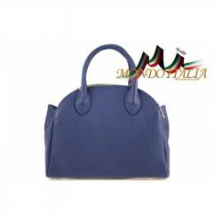 Talianska kožená kabelka do ruky 764 modrá MADE IN ITALY, modrá