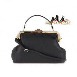 Talianska kožená kabelka do ruky 832 čierna MADE IN ITALY