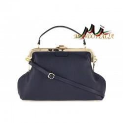 Talianska kožená kabelka do ruky 832 modrá MADE IN ITALY