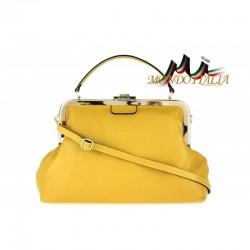 Talianska kožená kabelka do ruky 832 okrová MADE IN ITALY