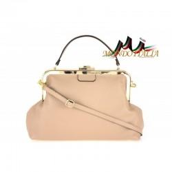 Talianska kožená kabelka do ruky 832 ružová MADE IN ITALY