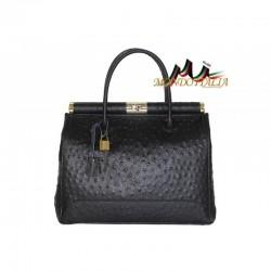 Talianska kožená kabelka do ruky 9014 čierna MADE IN ITALY 9014