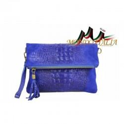 Talianska kožená kabelka kroko štýl 630 azurovo modrá MADE IN ITALY 630