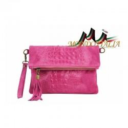 Talianska kožená kabelka kroko štýl 630 fuxia MADE IN ITALY 630