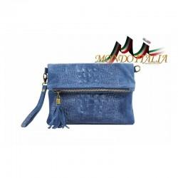 Talianska kožená kabelka kroko štýl 630 jeans MADE IN ITALY 630
