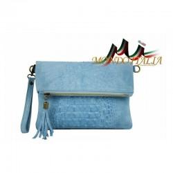 Talianska kožená kabelka kroko štýl 630 nebesky modrá MADE IN ITALY 630