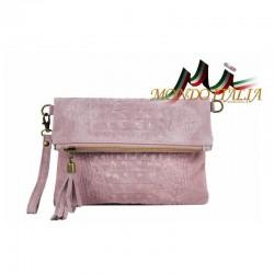 Talianska kožená kabelka kroko štýl 630 ružová MADE IN ITALY 630