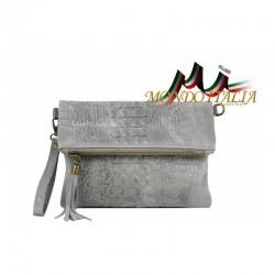 Talianska kožená kabelka kroko štýl 630 šedá MADE IN ITALY 630