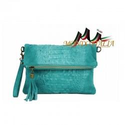 Talianska kožená kabelka kroko štýl 630 tyrkysová MADE IN ITALY 630