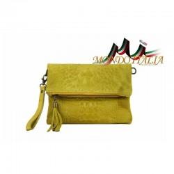 Talianska kožená kabelka kroko štýl 630 žltá MADE IN ITALY 630