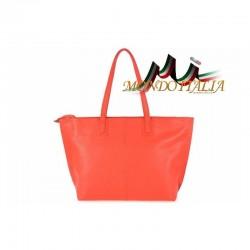 Talianska kožená kabelka MAXI 9662 korálová MADE IN