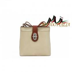 Talianska kožená kabelka na rameno 118 béžová+hnedá MADE IN ITALY 118